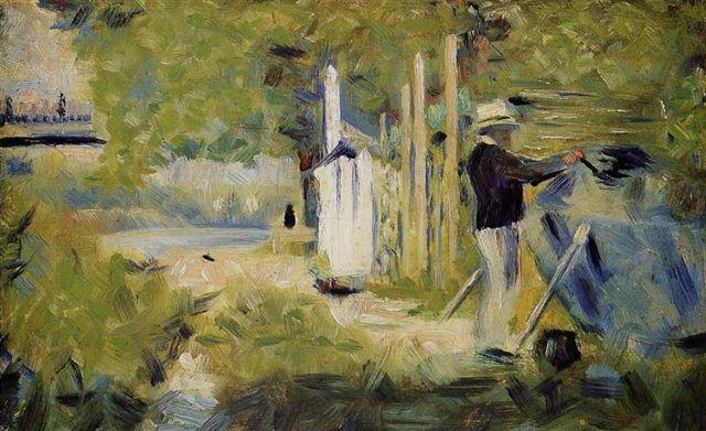 courtauld-seurat-georges-homme-peignant-son-bateau